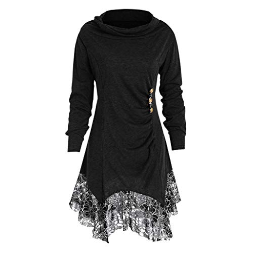 Mysky Fashion Women Casual Solid Turtleneck Tee Sweatshirt Ladies Simple Lace Patchwork Buttons Tops Pullover (Apparel Black John Adult Tee)