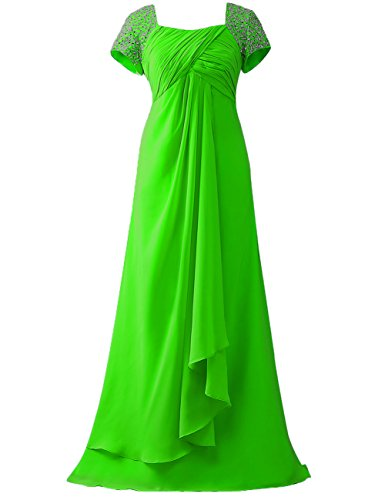 Mother Cap Green Cdress of Sleeves The Formal Gowns Bride Beads Dresses Prom Sequins wFa4I