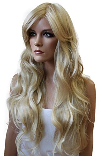 PRETTYSHOP Lady Wig Long Hair Cosplay Theater Party curled Wavy Heat-Resistant FP712 Variation (bleach blonde 25T613 FP712) - Long Curled Wig
