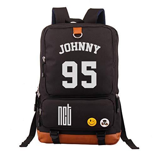 Fanstown Kpop NCT Backpack School Bag Canvas Bag NCT U NCT 127 NCT Dream Backpack with Pencil case Set Black Bag