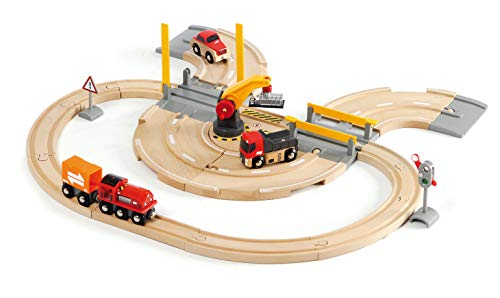 - Brio World - 33208 Rail & Road Crane Set | 26 Piece Toy Train with Accessories and Wooden Tracks for Kids Ages 3 and Up