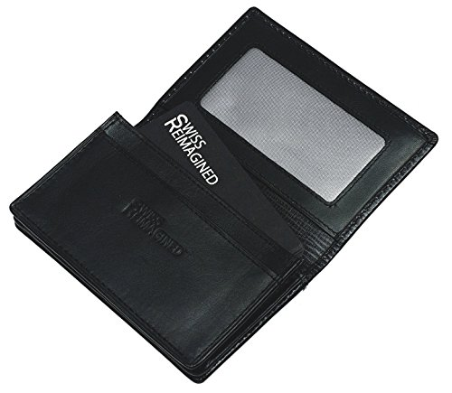 SWISS REIMAGINED Genuine Leather Business Card RFID Credit Card Case ID Holder Gift Box - Black