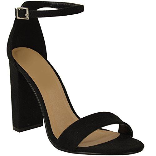Cheville La De À Sexy La Bout Mode Faux Nouveau Femme Taille À Dames Bloc Chaussures Ouvert Talons Hauts Noir Sandales Suède Bride Assoiffées xnEw7qz078