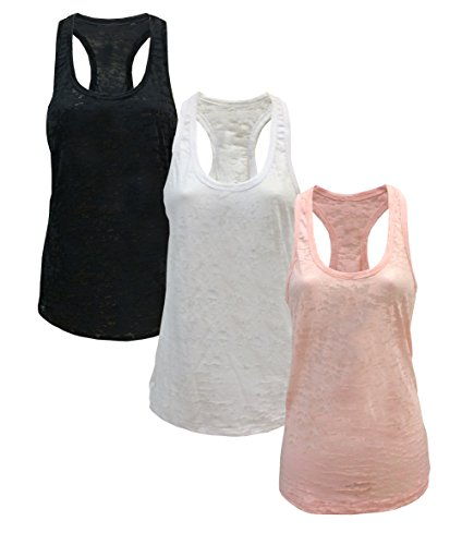 Tough Cookie's Women's Plain Burnout Tank Top 3 Pack Super Deal (X-Large, Black/White/Peach) (top deals)