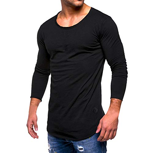 HGWXX7 Men's Fashion Solid O Neck Long Sleeve Muscle Tee T-Shirt Tops Blouse (XL, ()