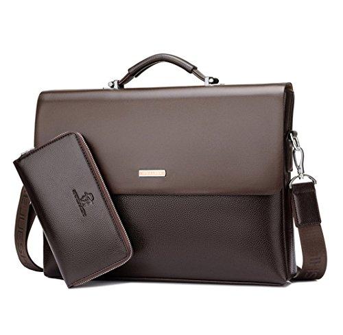 Mioy Modern Men's leather Business Bag Water resistant shoulder Messenger Bag 14'' Laptop Bag Tote Briefcase (Brown) by Mioy