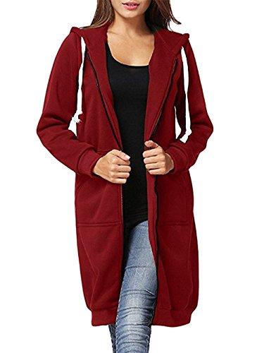 EGELBEL Women's Casual Plus Size Full Zip up Long Fleece Hoodies Tunic Sweatshirt Outerwear Jacket With Kangaroo Pockets,Burgundy,Small (Maroon Coat)