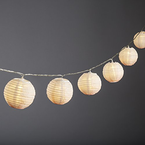 LampLust Mini Lantern Nylon LED String Lights, Indoor/Outdoor, Peach Ombre Effect, 15 Feet, 10 Lanterns, Connectable, Water Resistant, Indoor/Outdoor Use, Expandable to 100 LEDs - UL Listed (Gazebo Peach)