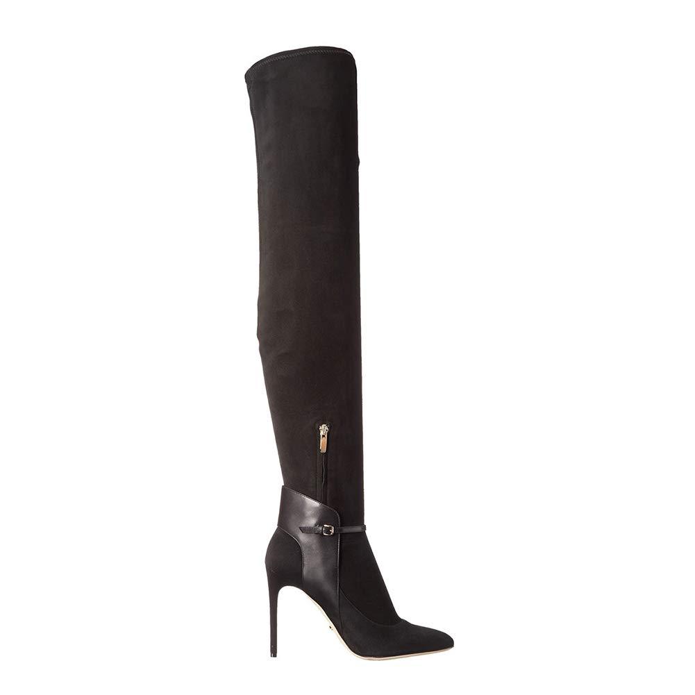 WHL.LL Frauen Spitze Schlanker High Heel Kniestiefel Splice Gürtelschnalle Seitlicher Reißverschluss Hoher Absatz Ritter Stiefel Mode Hohe Stiefel (Absatzhöhe  12Cm)