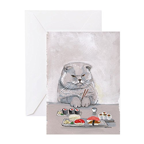CafePress - Dinner Date? Sushi Cat Card - Greeting Card, Note Card, Birthday Card, Blank Inside Matte