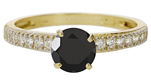 10k Yellow Gold Faceted Natural Genuine Black Onyx Round Engagement Band Wedding Ring Size 6 Genuine Round Black Onyx Ring