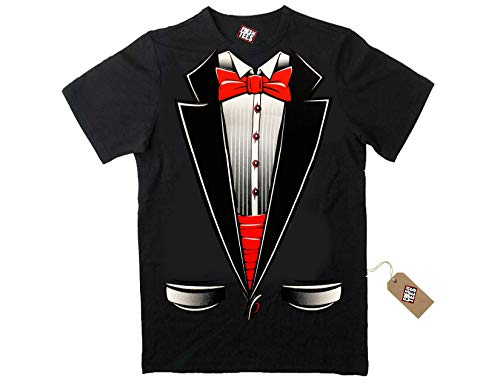 fresh tees Brand- Tuxedo with Bowtie T-Shirt Funny Shirts (X-Large, Black)
