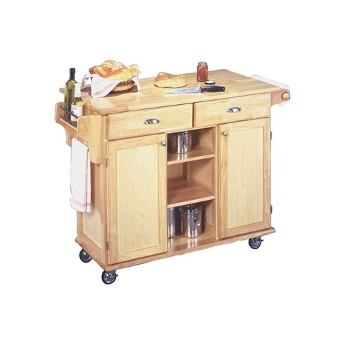 d Finish Kitchen Island Cart with Locking Casters Finish Kitchen Wood Island Top Natural Cart Portable White Cherry Furniture ()