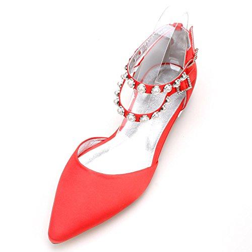 Chaussures Femmes 11 Red Personnalisation Soirée Cour Chaussures Mariage de YC 5047 L Nuptiale Boucle Perles Multicolore Plates Satin qFxESS