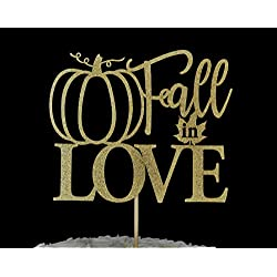 Fall in Love Gold Glitter Paper Cake Topper