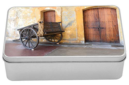 Lunarable Old Door Tin Box, Worn Out Wooden Cart in San Juan Puerto Rico Capital City Exploring Ruins, Portable Rectangle Metal Organizer Storage Box with Lid, 7.2
