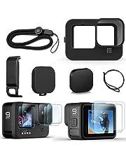 FitStill Siliconen hoes voor Hero 10/Hero 9 Zwart, Batterij Side Cover & Lens Caps & Screen Protectors & Lanyard voor Go Pro Hero10 Hero9 Accessoires Kit
