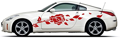 - Picniva rose Racing Car Body Side Stripes Sticker Decal 2 Pcs
