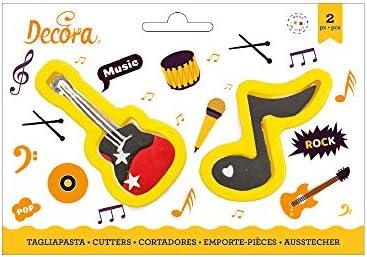 Decora 0255209 - Juego de 2 cortapastas Nota y guitarra de ...