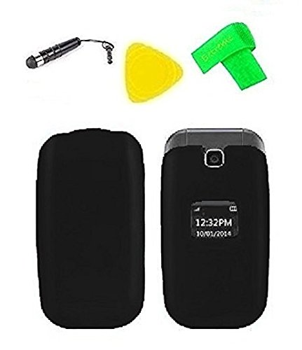 Case Cover Protector Faceplate (Hard Protector Phone Cover Case Cell Phone Accessory + Extreme Band + Stylus Pen + Yellow Pry Tool for LG True B460 / MS450 / B450 / 450 (Black))