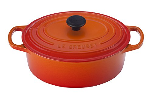 Le Creuset Enameled Cast Iron Signature Oval Dutch French Oven, 2 3/4 quart, Flame ()