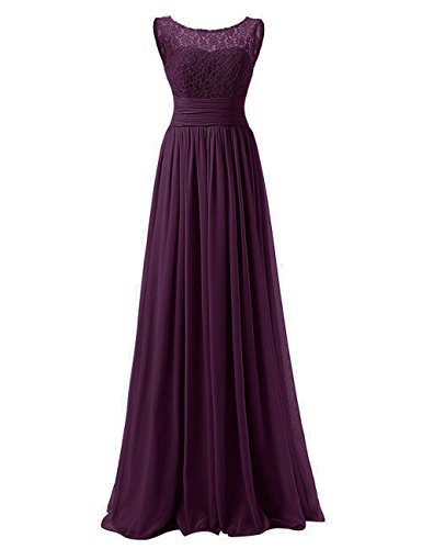 Women's Floral Lace Chiffon Wedding Bridesmaid Long Dress Prom Evening Gowns Plum US18W