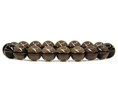 (AA Smoky Quartz Gemstones Healing Power Crystal Elastic Stretch Beaded Bracelet 7