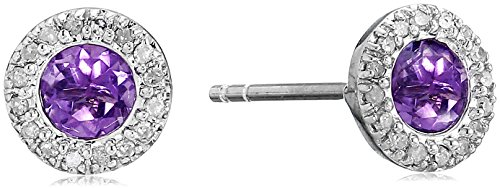 10k-White-Gold-Gemstone-and-Diamond-Halo-Stud-Earrings-110-cttw-I-J-Color-I2-I3-Clarity