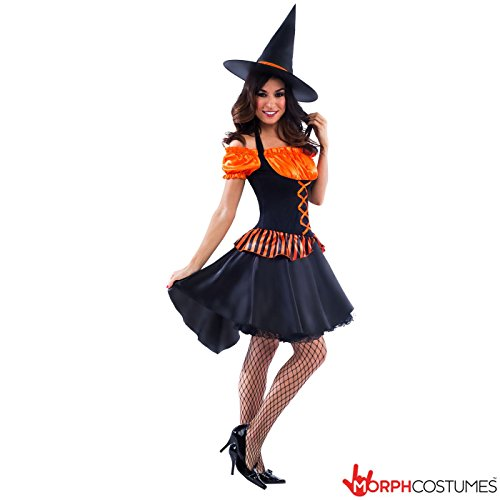[Womens Colourful Orange Witch Magical Fancy Dress Costume - 2 Piece Quality Costume] (Fantastic 4 Costume Uk)