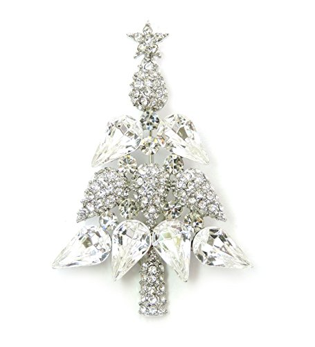 Tree Brooch Pin (Faship Gorgeous Clear Rhinestone Crystal Christmas Tree Pin Brooch)
