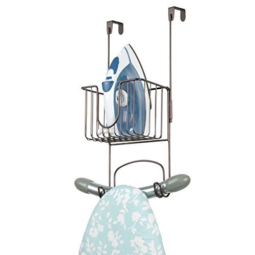 mDesign Laundry Room Over Door Ironing Board Holder with Small Basket - Bronze by mDesign