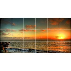 "Ceramic Tile Mural-Sunset Picture Kitchen Bathroom 1947. 25.5"" w x 12.75"" h using (18) 4.25 x 4.25 ceramic tiles"
