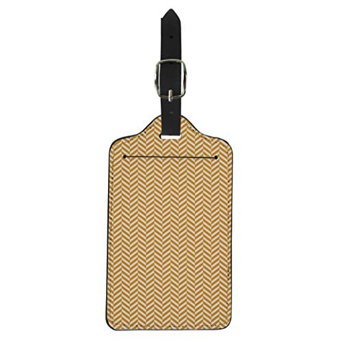 Pinbeam Luggage Tag Orange Geometric Chevron Vintage Herringbone Pattern Tweed Simple Suitcase Baggage Label ()