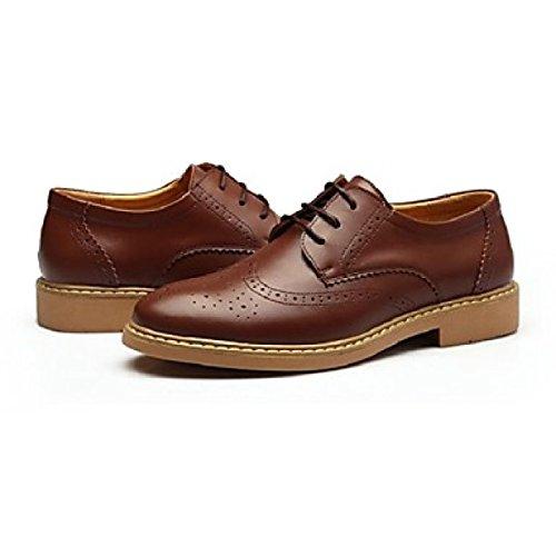 Comfort Lace Tacco Uomo Carriera Leather Casual Inverno Piatto Brown Estate Oxfords Office Autunno up Da Primavera cfOAwyUqYS
