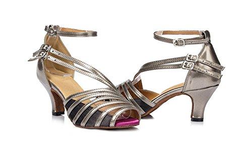 Abby By-ld004 Scarpe Da Tango Latino Da Donna Ballo Da Ballo Festa Di Nozze 6 / 7.5 / 8.5cm Tacco Svasato Peep-toe Pu Dance-scarpe Grigio