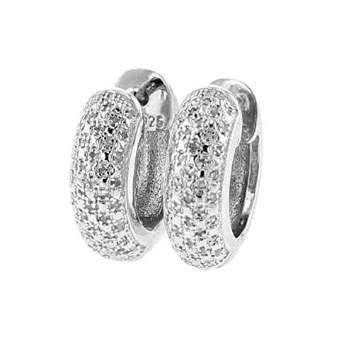 15mm Round Hoop Earrings With Diamonds 0.08ctw White Gold-Tone Silver Womens Earrings
