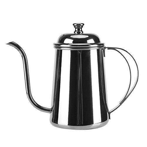 Yosoo 650ML De Acero Inoxidable precisas Gooseneck Goteo de la Tetera Verter sobre el café de té Inicio Brewing Goteo Olla(Plata)