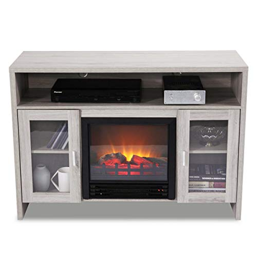 Cheap Cypress Shop Electric Fireplace TV Stand Media Stoves Entertainment Storage Organizer Wood Console Progammable Electric Heater 1250 Watts Free Standing Portable Long Frame Stove Home Furniture Black Friday & Cyber Monday 2019