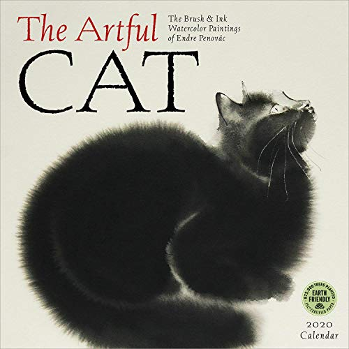 The Artful Cat 2020 Wall Calendar: Brush & Ink Watercolor Paintings (Cat Watercolor)