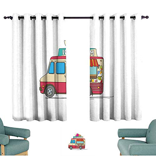 HCCJLCKS Customized Curtains Truck Ice Cream Truck Colorful Illustration Business Idea Cartoon Style Cutaway Vehicle Blackout Draperies for Bedroom Window W63 xL63 Multicolor ()