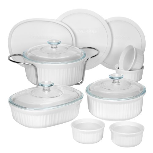CorningWare 1083955 French 14-Piece Bakeware Set, White