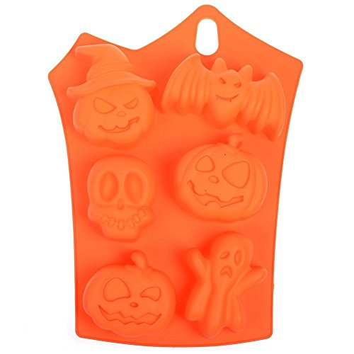 Kakasogo Newest 6 Cavity Pumpkin Bat Ghost Skull Mix Pattern Silicone Mold for Soap Cake Chocolate DIY Handmade Cupcake Baking Fondant Ice Cube Mould Bath Bombs Pans Halloween Christmas Kitchen Tool