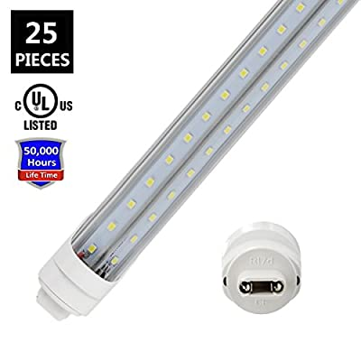T8/T10/T12 R17D/HO 8FT LED Tube Light Bulbs, JESLED Light V shaped 270 degree LED Fluorescent Tubes, 72W 6000K Cool White, 7200LM (150W Replacement), Clear Cover, Dual-Ended Powered (Ballast Removal)
