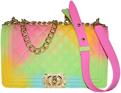 Color Handbags Ladies Shoulder Bag PVC Fashion Handbags Color Matte Matte Rhombic Jelly Bag (Green Pink Yellow)