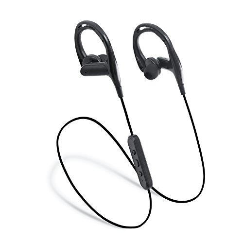 Laud Sports Bluetooth Wireless In-Ear Headphones - Premium HD Sound - Noise Cancelling Stereo Headset + Mic & Controls - Sweatproof Earphones - For Gym Workouts, Running (Jet Black)