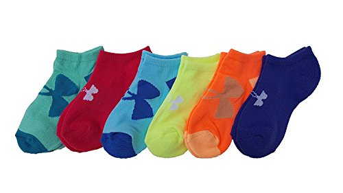 Under Armour Girls Essential No Show Socks (6 Pack) (Youth Large, Rainbow (3135) / Assorted Colors) by Under Armour
