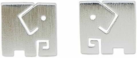 NOVICA .925 Sterling Silver Stud Earrings 'Block Elephant'