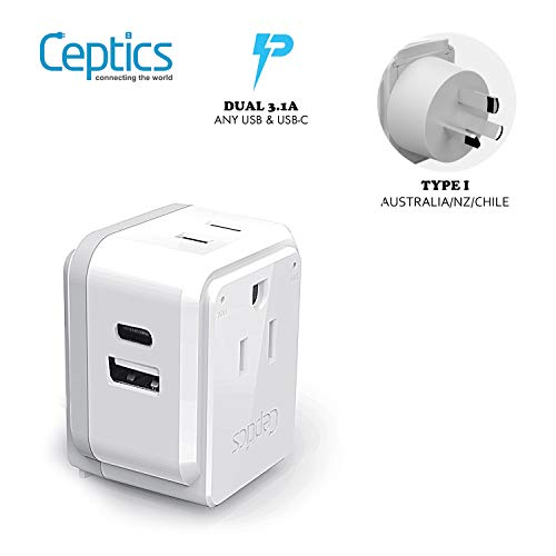 Australia, China, New Zealand Travel Plug Adapter Set by Ceptics, Safe Dual USB & USB-C 3.1A - 2 USA Socket - Compact & Powerful - Use in Fiji, Argentina - Includes Type I Swadapt Attachments