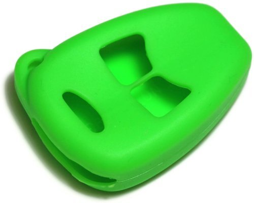 Green Silicone Key Fob Cover Case Smart Remote Pouches Protection Key Chain Fits: Chrysler Town and Country 04-07 w/o power doors, hatch