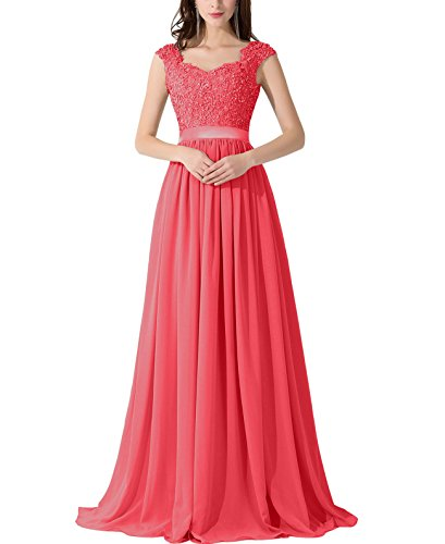 VaniaDress Women Applique Beading Long Evening Dress Formal Gowns V007LF Coral US10 from VaniaDress